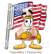 Illustration of a Cartoon Human Nose Mascot Pledging Allegiance to an American Flag by Toons4Biz