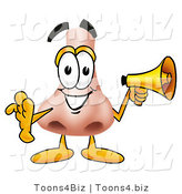 Illustration of a Cartoon Human Nose Mascot Screaming into a Megaphone by Toons4Biz