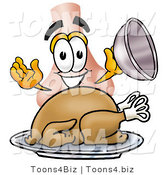 Illustration of a Cartoon Human Nose Mascot Serving a Thanksgiving Turkey on a Platter by Toons4Biz