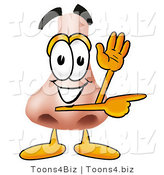 Illustration of a Cartoon Human Nose Mascot Waving and Pointing by Toons4Biz