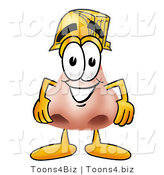 Illustration of a Cartoon Human Nose Mascot Wearing a Helmet by Toons4Biz