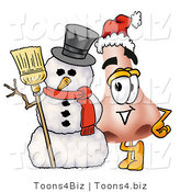 Illustration of a Cartoon Human Nose Mascot with a Snowman on Christmas by Toons4Biz