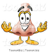 Illustration of a Cartoon Human Nose Mascot with Welcoming Open Arms by Toons4Biz
