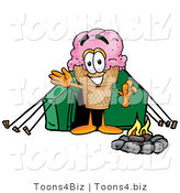 Illustration of a Cartoon Ice Cream Cone Mascot Camping with a Tent and Fire by Toons4Biz