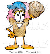 Illustration of a Cartoon Ice Cream Cone Mascot Catching a Baseball with a Glove by Toons4Biz