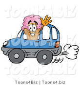 Illustration of a Cartoon Ice Cream Cone Mascot Driving a Blue Car and Waving by Toons4Biz