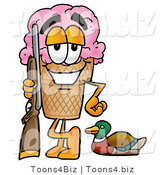 Illustration of a Cartoon Ice Cream Cone Mascot Duck Hunting, Standing with a Rifle and Duck by Toons4Biz