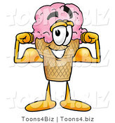 Illustration of a Cartoon Ice Cream Cone Mascot Flexing His Arm Muscles by Toons4Biz