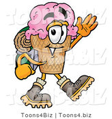 Illustration of a Cartoon Ice Cream Cone Mascot Hiking and Carrying a Backpack by Toons4Biz