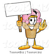 Illustration of a Cartoon Ice Cream Cone Mascot Holding a Blank Sign by Toons4Biz