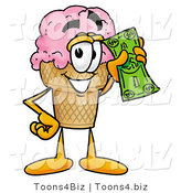 Illustration of a Cartoon Ice Cream Cone Mascot Holding a Dollar Bill by Toons4Biz