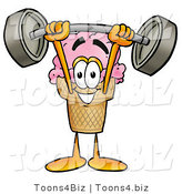 Illustration of a Cartoon Ice Cream Cone Mascot Holding a Heavy Barbell Above His Head by Toons4Biz