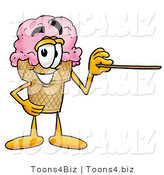 Illustration of a Cartoon Ice Cream Cone Mascot Holding a Pointer Stick by Toons4Biz