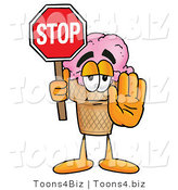 Illustration of a Cartoon Ice Cream Cone Mascot Holding a Stop Sign by Toons4Biz