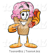 Illustration of a Cartoon Ice Cream Cone Mascot Holding a Telephone by Toons4Biz