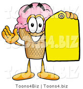 Illustration of a Cartoon Ice Cream Cone Mascot Holding a Yellow Sales Price Tag by Toons4Biz
