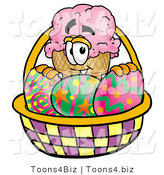 Illustration of a Cartoon Ice Cream Cone Mascot in an Easter Basket Full of Decorated Easter Eggs by Toons4Biz