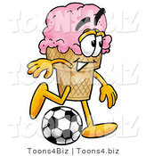Illustration of a Cartoon Ice Cream Cone Mascot Kicking a Soccer Ball by Toons4Biz