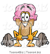 Illustration of a Cartoon Ice Cream Cone Mascot Lifting a Heavy Barbell by Toons4Biz