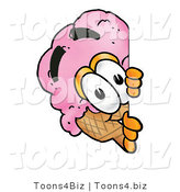 Illustration of a Cartoon Ice Cream Cone Mascot Peeking Around a Corner by Toons4Biz