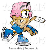 Illustration of a Cartoon Ice Cream Cone Mascot Playing Ice Hockey by Toons4Biz