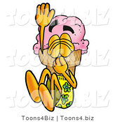 Illustration of a Cartoon Ice Cream Cone Mascot Plugging His Nose While Jumping into Water by Toons4Biz