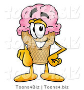 Illustration of a Cartoon Ice Cream Cone Mascot Pointing at the Viewer by Toons4Biz