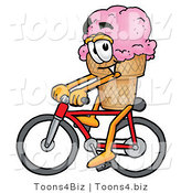 Illustration of a Cartoon Ice Cream Cone Mascot Riding a Bicycle by Toons4Biz