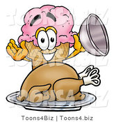 Illustration of a Cartoon Ice Cream Cone Mascot Serving a Thanksgiving Turkey on a Platter by Toons4Biz