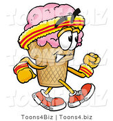 Illustration of a Cartoon Ice Cream Cone Mascot Speed Walking or Jogging by Toons4Biz