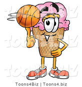 Illustration of a Cartoon Ice Cream Cone Mascot Spinning a Basketball on His Finger by Toons4Biz