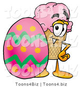 Illustration of a Cartoon Ice Cream Cone Mascot Standing Beside an Easter Egg by Toons4Biz