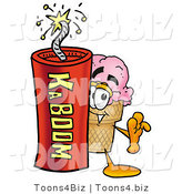 Illustration of a Cartoon Ice Cream Cone Mascot Standing with a Lit Stick of Dynamite by Toons4Biz