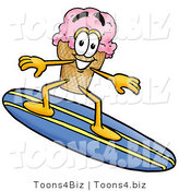 Illustration of a Cartoon Ice Cream Cone Mascot Surfing on a Blue and Yellow Surfboard by Toons4Biz