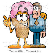 Illustration of a Cartoon Ice Cream Cone Mascot Talking to a Business Man by Toons4Biz