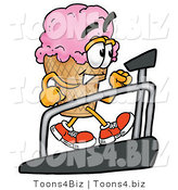 Illustration of a Cartoon Ice Cream Cone Mascot Walking on a Treadmill in a Fitness Gym by Toons4Biz