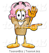 Illustration of a Cartoon Ice Cream Cone Mascot Waving and Pointing by Toons4Biz