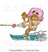 Illustration of a Cartoon Ice Cream Cone Mascot Waving While Water Skiing by Toons4Biz