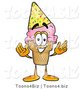 Illustration of a Cartoon Ice Cream Cone Mascot Wearing a Birthday Party Hat by Toons4Biz