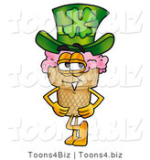 Illustration of a Cartoon Ice Cream Cone Mascot Wearing a Saint Patricks Day Hat with a Clover on It by Toons4Biz