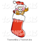 Illustration of a Cartoon Ice Cream Cone Mascot Wearing a Santa Hat Inside a Red Christmas Stocking by Toons4Biz
