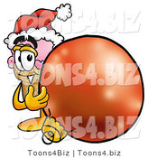 Illustration of a Cartoon Ice Cream Cone Mascot Wearing a Santa Hat, Standing with a Christmas Bauble by Toons4Biz
