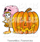Illustration of a Cartoon Ice Cream Cone Mascot with a Carved Halloween Pumpkin by Toons4Biz