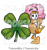 Illustration of a Cartoon Ice Cream Cone Mascot with a Green Four Leaf Clover on St Paddy's or St Patricks Day by Toons4Biz