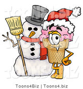 Illustration of a Cartoon Ice Cream Cone Mascot with a Snowman on Christmas by Toons4Biz