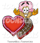 Illustration of a Cartoon Ice Cream Cone Mascot with an Open Box of Valentines Day Chocolate Candies by Toons4Biz