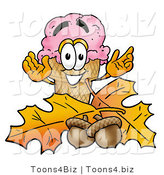 Illustration of a Cartoon Ice Cream Cone Mascot with Autumn Leaves and Acorns in the Fall by Toons4Biz