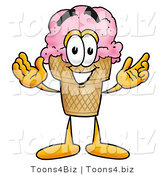 Illustration of a Cartoon Ice Cream Cone Mascot with Welcoming Open Arms by Toons4Biz