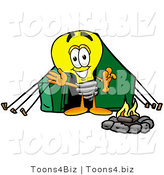 Illustration of a Cartoon Light Bulb Mascot Camping with a Tent and Fire by Toons4Biz
