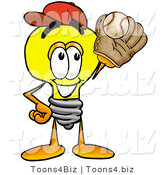 Illustration of a Cartoon Light Bulb Mascot Catching a Baseball with a Glove by Toons4Biz